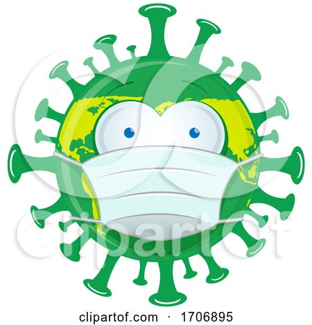 Green and Yellow Coronavirus Earth Mascot Wearing a Mask by Domenico Condello
