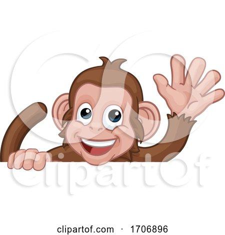 Monkey Cartoon Animal Behind Sign Waving Posters, Art Prints