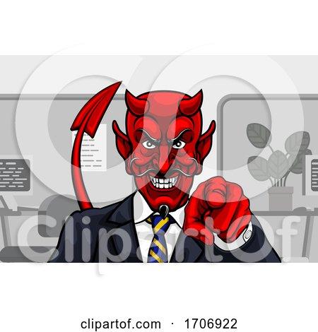 Devil Evil Businessman in Suit Pointing by AtStockIllustration