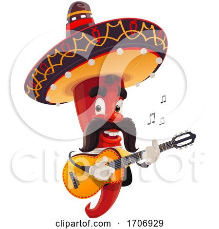 Mexican Chili Pepper Masoct Playing a Guitar by Vector Tradition SM