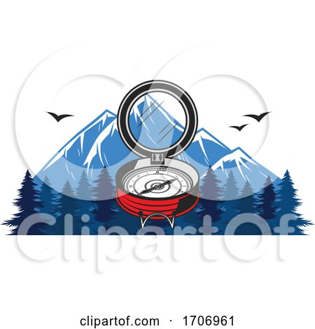 Compass and Mountains Logo by Vector Tradition SM