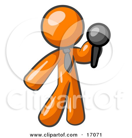 Orange Man, A Comedian Or Vocalist, Wearing A Tie, Standing On Stage And Holding A Microphone While Singing Karaoke Or Telling Jokes Clipart Illustration by Leo Blanchette