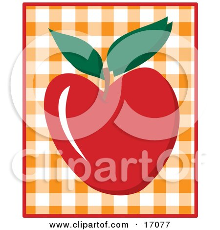 Yummy Red Apple With A Stem And Two Green Leaves, Over A Checkered Background Clipart Illustration by Maria Bell