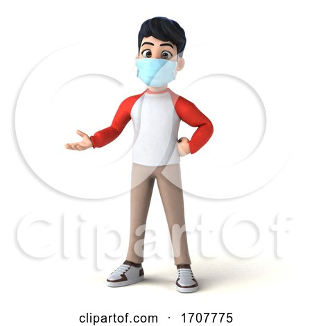 3d Asian Boy Wearing a Mask, on a White Background by Julos