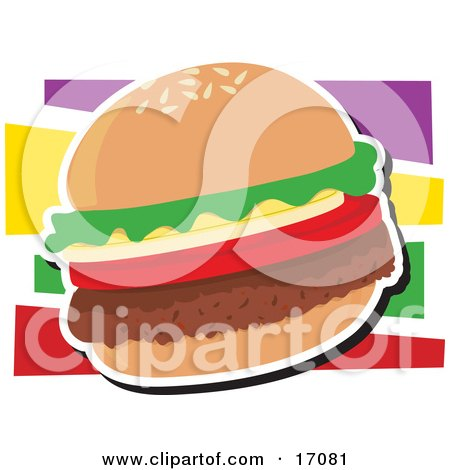 Fast Food Hamburger With Lettuce and Tomato  Posters, Art Prints