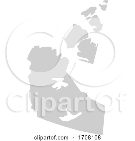 Gray Province Silhouette Map of the Northwest Territories Canada by Jamers