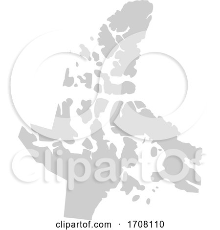 Gray Province Silhouette Map of Nunavut Canada by Jamers