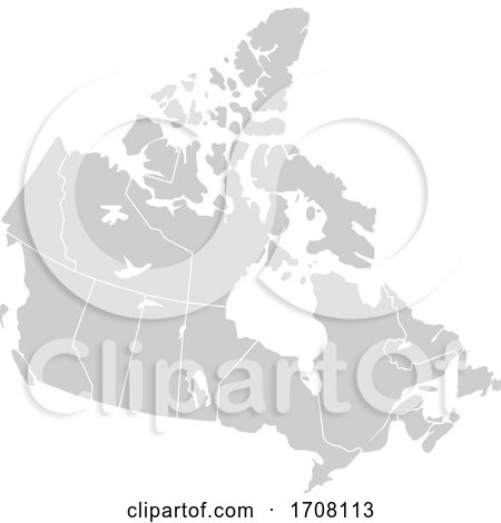 Gray Silhouette Map of Canada by Jamers