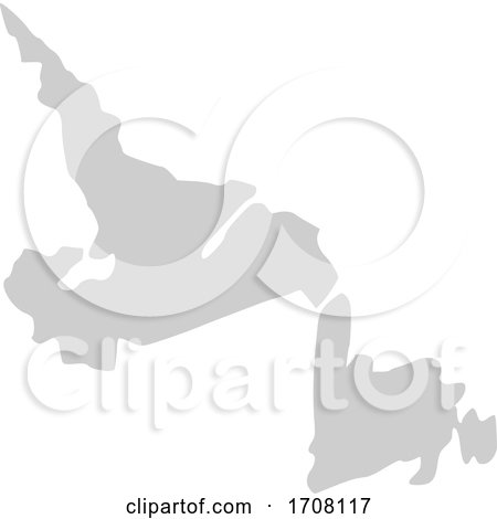 Gray Province Silhouette Map of Newfoundland and Labrador Canada by Jamers
