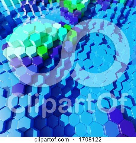 Hexagonal 3d Abstract Plastic Block Design in Aquatic Blue Colors by Steve Young