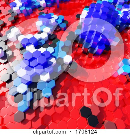 3d Red White and Blue Plastic Hexagonal Blocks in Abstract Design by Steve Young