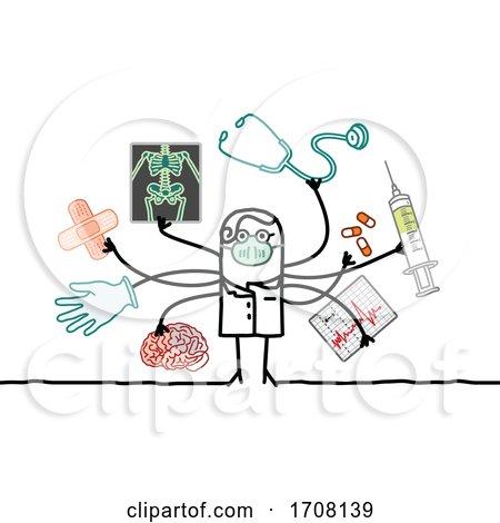 Stick Male Doctor Wearing a Coronavirus Mask and Multitasking Posters, Art Prints