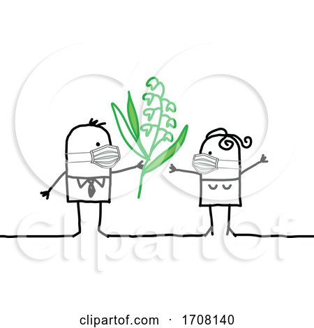 Stick Couple Wearing Coronavirus Masks and the Man Giving the Woman Flowers Posters, Art Prints