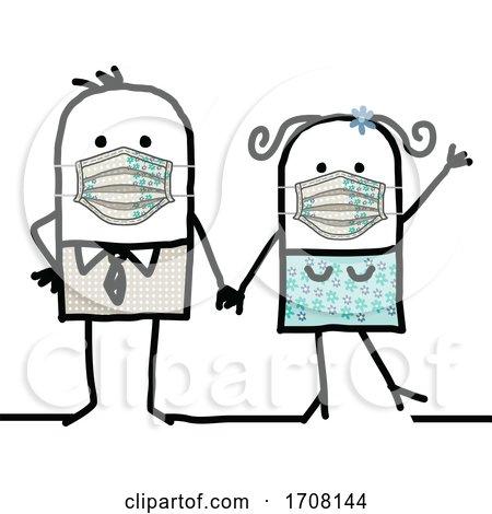 Stick Couple Wearing Coronavirus Masks Posters, Art Prints