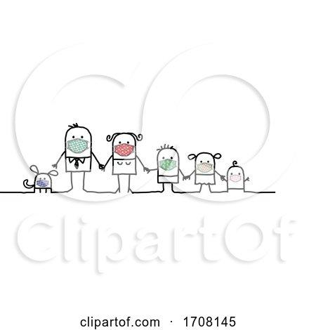 Stick Family Wearing Coronavirus Masks Posters, Art Prints