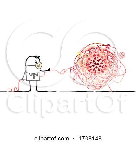 Stick Man Wearing a Coronavirus Mask and Untangling a Virus Posters, Art Prints