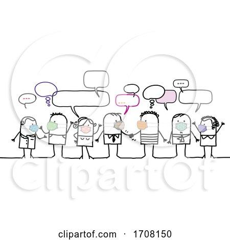 Stick People Wearing Coronavirus Masks and Socializing by NL shop