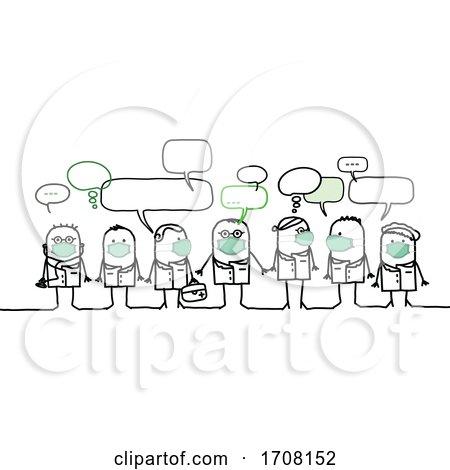 Stick Medical Team Wearing Coronavirus Masks Posters, Art Prints