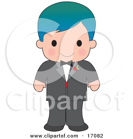 Handsome Blue Haired Caucasian Boy Wearing A Tuxedo Clipart Illustration by Maria Bell