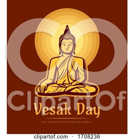 Vesak Day Buddha Sit Under Full Moon by Vector Tradition SM