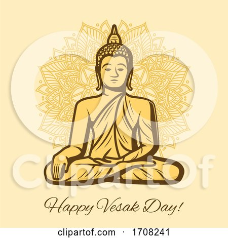Happy Vesak Day Holiday Buddha in Meditation by Vector Tradition SM