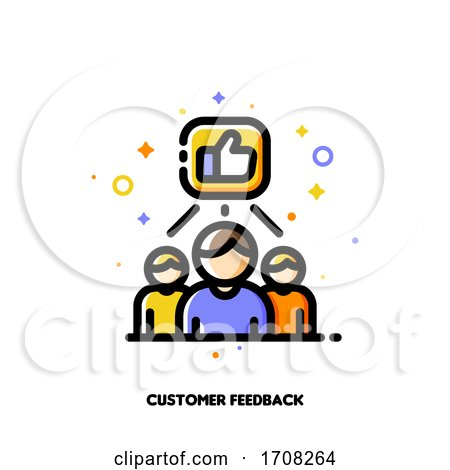 Icon with Business Team and Hand Thumbs up Which Symbolize Good Customers Product Rating for Positive Users Feedback Concept Flat Filled Outline Style Pixel Perfect 64x64 Editable Stroke by elena