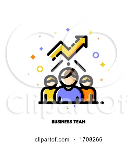 Icon with Business Team and Chart of Increasing Income for Financial Growth Concept Flat Filled Outline Style Pixel Perfect 64x64 Editable Stroke by elena