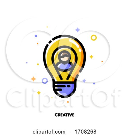 Icon of User Photo and Light Bulb As Innovative Idea Symbol for Creative Person Concept Flat Filled Outline Style Pixel Perfect 64x64 Editable Stroke by elena