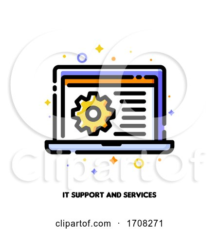 IT Support Icon with Laptop and Gear for Computer Repair Services or Software Development Concept Flat Filled Outline Style Pixel Perfect 64x64 Editable Stroke by elena