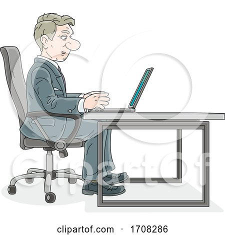 Businessman Using a Laptop at a Table by Alex Bannykh