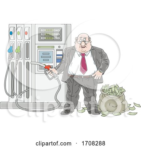 Politician at a Gas Pump with a Sack of Cash Money by Alex Bannykh