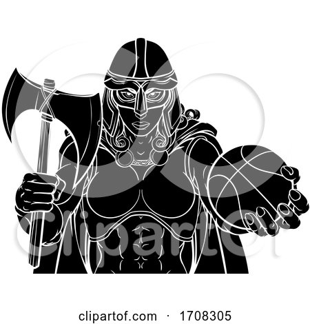 Viking Celtic Knight Basketball Warrior Woman by AtStockIllustration