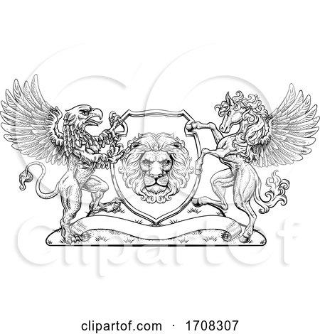 Coat of Arms Crest Griffin Pegasus Lion Shield by AtStockIllustration