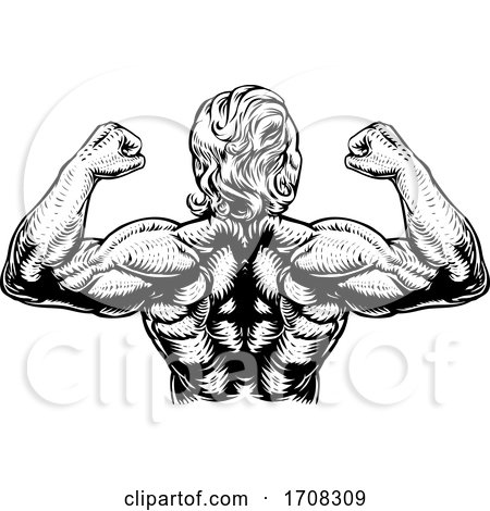 Back Muscles Bodybuilder Strong Arms Concept by AtStockIllustration