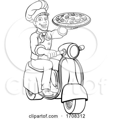Pizza Delivery Chef Scooter Moped Cartoon Man by AtStockIllustration