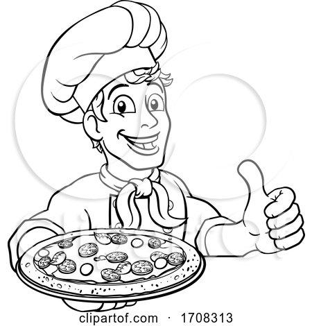 Pizza Chef Cartoon by AtStockIllustration