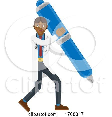 Asian Doctor Man Holding Pen Mascot Concept by AtStockIllustration