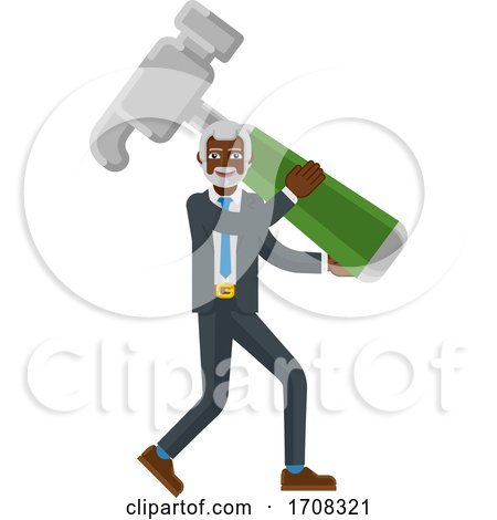 Mature Black Business Man Holding Hammer Mascot by AtStockIllustration