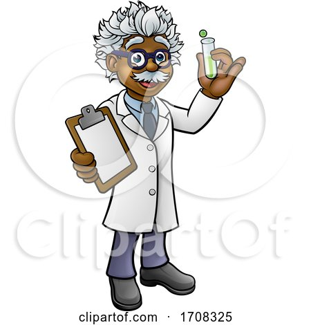 Cartoon Scientist Holding Test Tube and Clipboard by AtStockIllustration