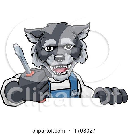 Wolf Electrician Handyman Holding Screwdriver by AtStockIllustration
