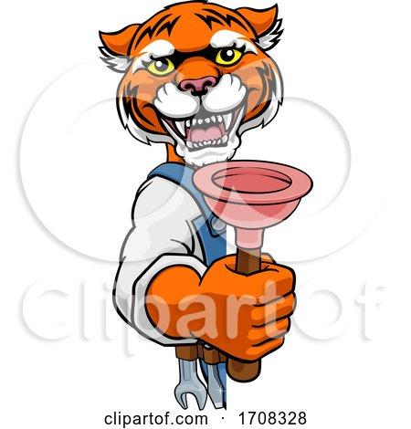 Tiger Plumber Cartoon Mascot Holding Plunger Posters, Art Prints
