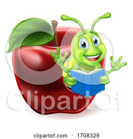 Apple Book Worm Cartoon by AtStockIllustration