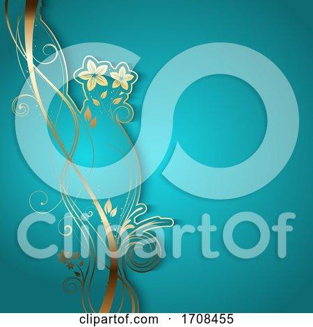 Elegant Background with Decorative Floral Design by KJ Pargeter