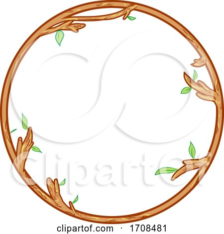 Wood and Leafy Branch Round Frame by Domenico Condello