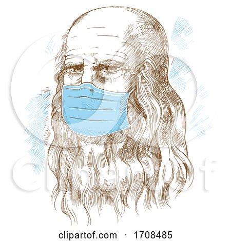 Sketched Portrait Leonardo Da Vinci Wearing a Mask by Domenico Condello