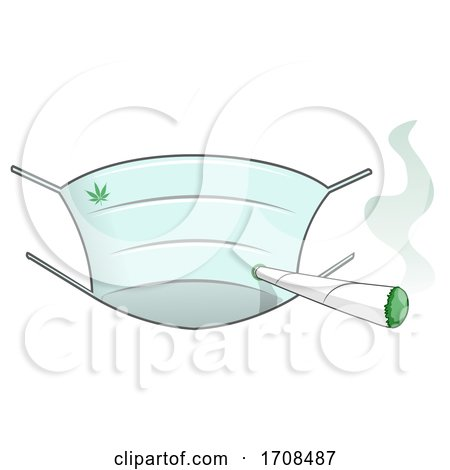 Face Mask and Smoking Joint by Domenico Condello