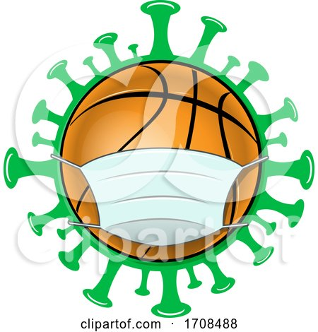 Basketball Wearing a Mask over a Virus by Domenico Condello