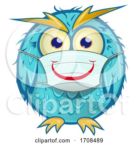 Blue Owl Wearing a Coronavirus Mask by Domenico Condello
