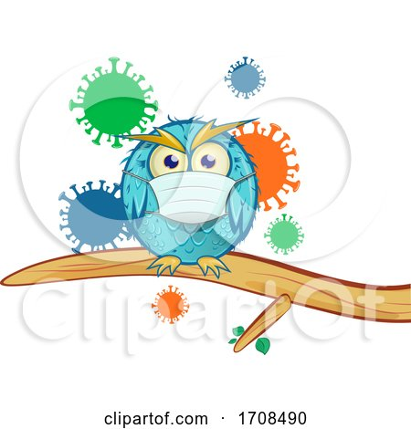 Blue Owl Wearing a Coronavirus Mask over Viruses by Domenico Condello