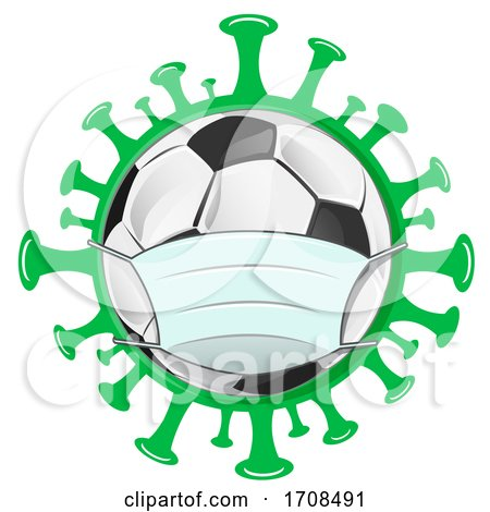 Soccer Ball Wearing a Mask over a Virus by Domenico Condello